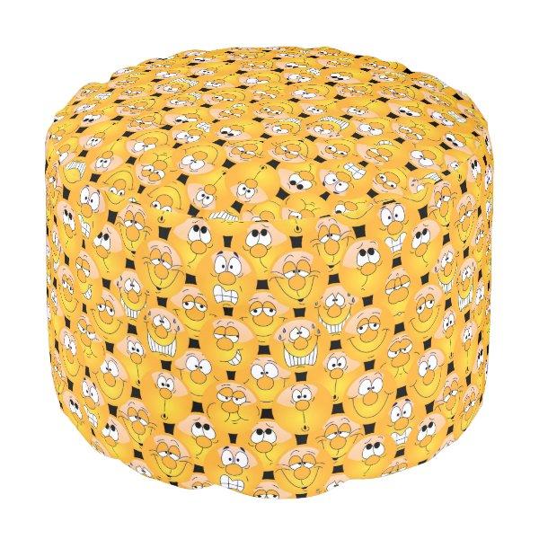 Emoji Design Funny Yellow Faces Pouf