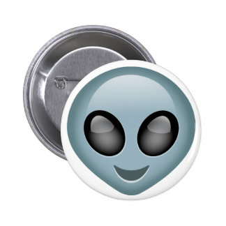 Emoji extranjero extraterrestre pin redondo de 2 pulgadas