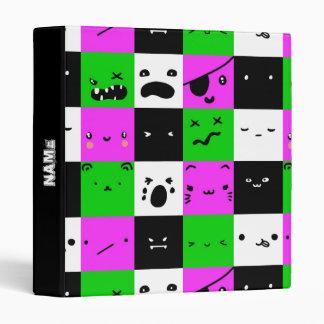 Emoji Faces Kawaii Purple personalized Binder