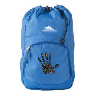 Emoji-filled handprint symbolizes joy & aliveness backpack