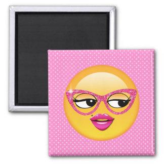 Emoji Flirty Girl ID227 2 Inch Square Magnet