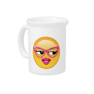Emoji Flirty Girl ID227 Beverage Pitchers