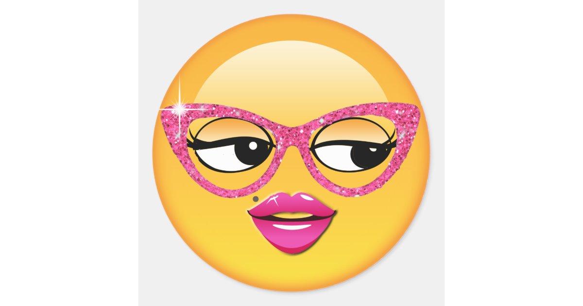 Emoji Flirty Girl ID227 Classic Round Sticker