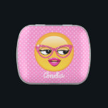 """Emoji Flirty Girl ID227 Jelly Belly Candy Tin<br><div class=""""desc"""">Emojis are one of top 11 things teens on Reddit say are cool. This cute candy tin features a designer original, girly-girl emoji with sparkly pink glitter glasses, big eyes and a delicate mole above full pink lips. I needed an emoji for back-to-school teenagers but all I could find were...</div>"""