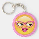 Emoji Flirty Girl ID227 Keychain