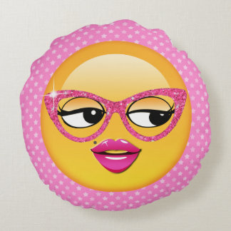 Emoji Flirty Girl ID227 Round Pillow