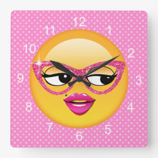 Emoji Flirty Girl ID227 Square Wall Clock