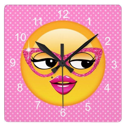 Emoji Flirty Girl ID227 Square Wall Clock