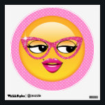 """Emoji Flirty Girl ID227 Wall Sticker<br><div class=""""desc"""">Emojis are one of top 11 things teens on Reddit say are cool. This fun wall decal features a designer original, girly-girl emoji with sparkly pink glitter glasses, big eyes and a delicate mole above full pink lips. I needed an emoji for back-to-school teenagers but all I could find were...</div>"""
