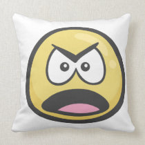 Emoji: Frowning Face With Open Mouth Throw Pillow