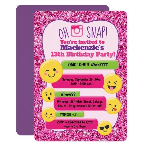 Emoji Girl's Teen Tween Birthday Pink Glitter Card