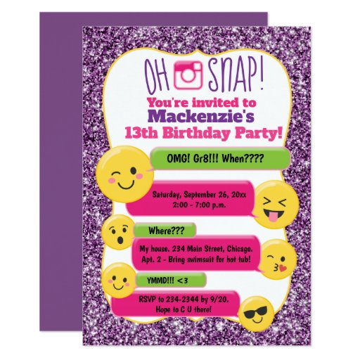 Emoji Girl's Teen Tween Birthday Purple Glitter Card