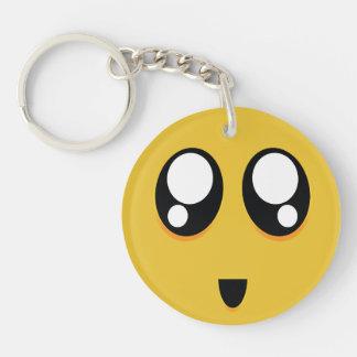 Emoji grande lindo estupendo de los ojos llavero redondo acrílico a una cara