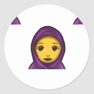 emoji hajib classic round sticker