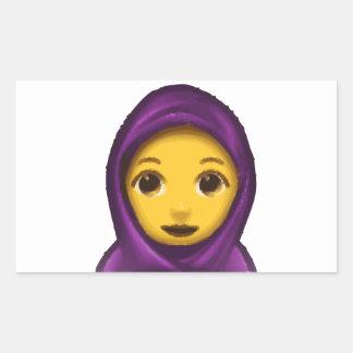 emoji hajib rectangular sticker