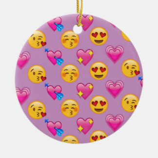 Emoji Hearts and Love Pink Patternsd Ceramic Ornament