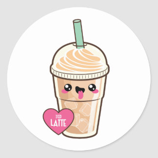 Emoji Iced Latte Classic Round Sticker