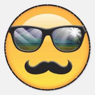 Emoji ID230 sombrío estupendo Pegatina Redonda