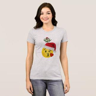 emoji kiss under mistletoe christmas tshirt design