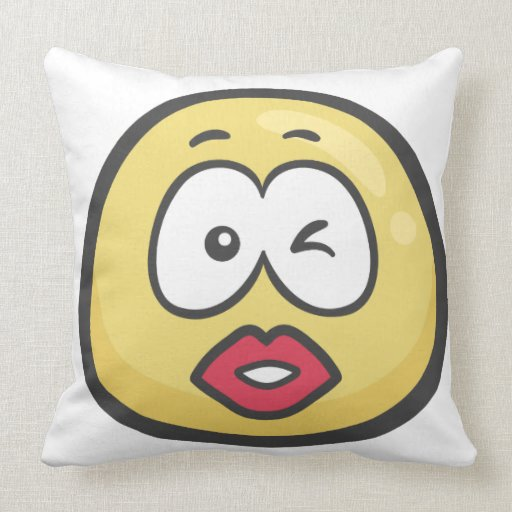Emoji: Kissing Face Throw Pillow Zazzle