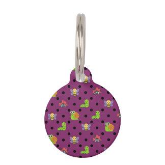 Emoji lady bug snail bee caterpillar polka dots pet ID tag