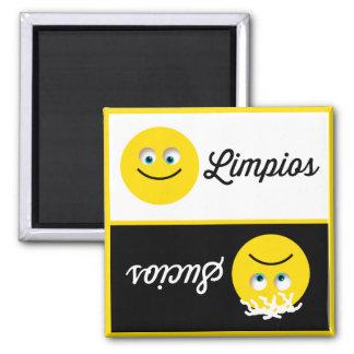 Emoji Limpios Sucios Dishwasher Black White Magnet