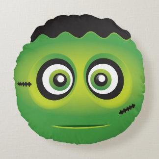 Emoji lindo del monstruo del verde del lil cojín redondo