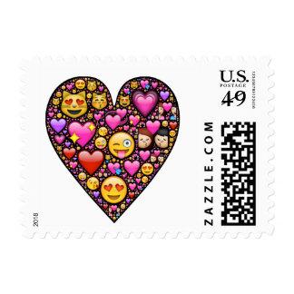 Emoji love heart postage stamp