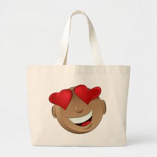 Emoji Man Face Facial Love Hearts Expression Jumbo Tote Bag