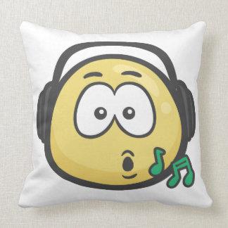 Emoji: Music Face Throw Pillow