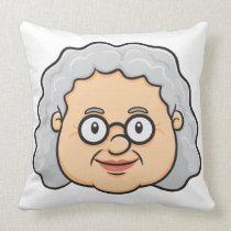 Emoji: Older Woman Face Throw Pillow