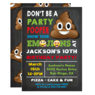 Emoji Party Pooper Birthay Invitation