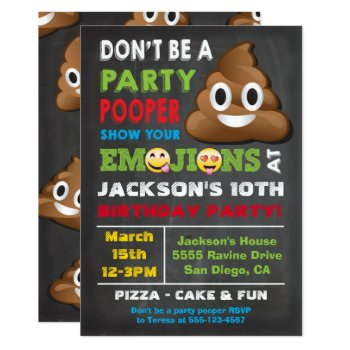 Emoji Party Pooper Birthay Invitation by McBooboo at Zazzle