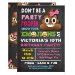 Emoji Party Pooper Girl Birthay Invitation at Zazzle