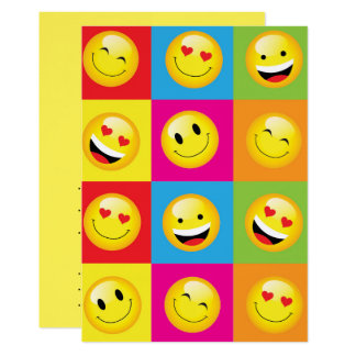 Emoji Party Smilie Faces Acid House Rave Night Card