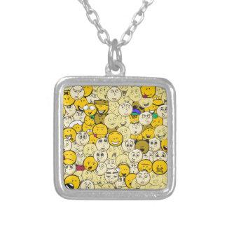 Emoji Pattern Silver Plated Necklace