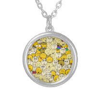 Emoji Pattern Silver Plated Necklace