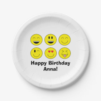 Emoji Personalized Paper Plates 7 Inch Paper Plate