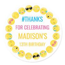 Emoji Personalized Stickers Birthday Favor Labels
