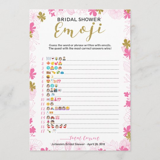 emoji pictionary bridal shower game pink floral