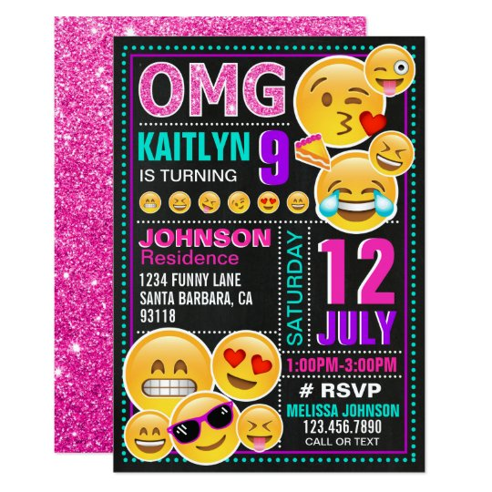 Emoji Pink Glitter Birthday Invitation Zazzle Com
