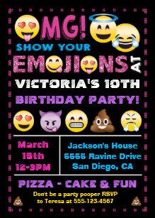 Emoji Pink Glitter Birthday Party Invitation