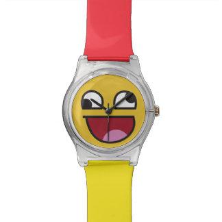 Emoji poco firme divertido del ojo reloj de mano