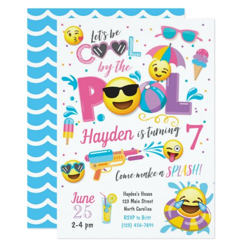Emoji Pool Party Invitation, Summer Birthday Invitation