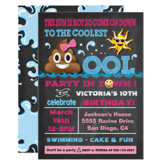 Emoji Pool Party Pooper Birthday Invitation