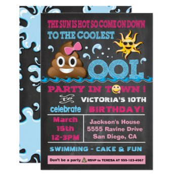 Emoji Pool Party Pooper Birthday Invitation by McBooboo at Zazzle