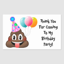 Emoji Poop Birthday Party Thank You Stickers