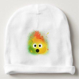 emoji poop spray paint yellow cute design baby beanie