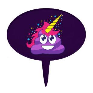 Emoji Purple Unicorn Poop Cake Topper