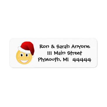 Beach Themed Emoji Santa Address Label